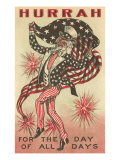 4th of July, Uncle Sam Trotting with Flag Poster