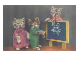 Dressed Kittens at School Prints
