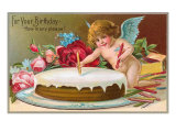 For Your Birthday, Cherub with Cake Art