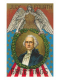 4th of July Greetings, George Washington Prints
