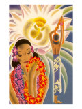 Hawaiian Woman with Passion Flower Print