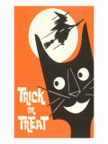 Trick or Treat, Cartoon Cat, Witch by Moon Print