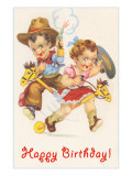 Happy Birthday, Baby Cowboy and Cowgirl Art