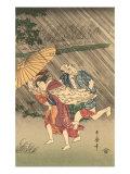 Japanese Woodblock, Rain Storm Art