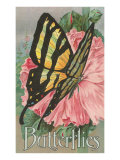 Yellow Swallowtail on Hollyhocks Prints