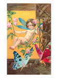 Victorian Cherub Swinging in Roses Poster