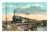 Locomotive on Bridge, Aurora, Illinois Print