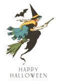 Happy Halloween, Witch and Bat Posters
