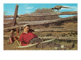 Bow Hunter Sleeping by Pheasant Posters