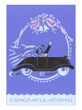 Congratulations, Bride and Groom in Car Affiches