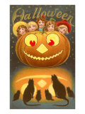 Halloween, Children behind Jack O'Lantern Prints