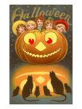Halloween, Children behind Jack O'Lantern Posters