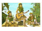 Hawaiian Hula Dancers with Guitar and Ukuleles Poster