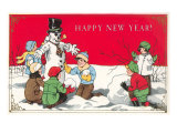 Happy New Year, Children with Snowman Art