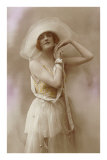 French Fashion, Woman in Hat with Bare Arms Posters