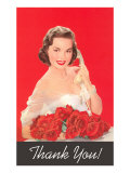 Thank You, Woman on Phone with Roses Posters