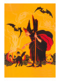 Witch with Goblin Emerging from Pumpkin Art Print