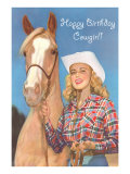 Happy Birthday Cowgirl, Blonde and Palomino Prints