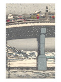 Japanese Bridge in Snow Posters