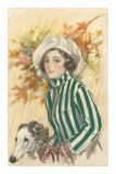 French Fashion, Woman with Borzoi Posters