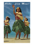 Aloha from Maui, Hula Girls on Beach Prints