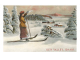 Sun Valley, Idaho, Woman Skier Looking Over Town Posters