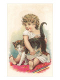 Little Girl with Cat Posters