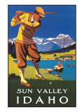 Sun Valley, Idaho, Golfing in Mountains Print