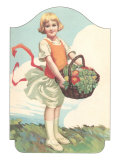 Girl with Basket of Vegetables Art