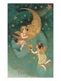 Feliz año nuevo, querubines en la luna Lámina