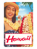Hawaii, Woman with Frangipani Leis Prints