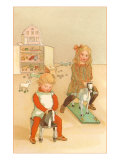 Children on Hobby Horses Photo