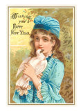 Wishing You a Happy New Year, Victorian Girl with Dove Prints