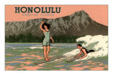 Surf Riders, Honolulu, Hawaii, Graphics Art