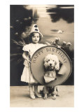 Little Girl Clown with Drum and Dog Art