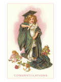 Congratulations, Little Girl in Cap and Gown Poster