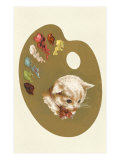 Kitten's Head on Palette Print