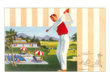 Golfing at Resort, Illustration Poster