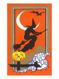 Witch Silhouette with Bat and Jack O'Lantern Prints