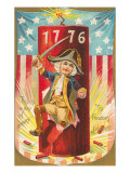4th of July, Boy with 1776 Firecracker Posters