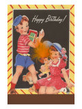 Happy Birthday, Children, Doll, Puppy Art