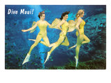 Dive Maui, Three Mermaids Posters