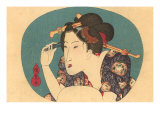 Japanese Woodblock, Lady Plucking Eyebrows Prints