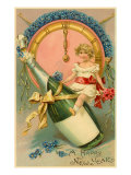 A Happy New Year, Victorian Girl on Champagne Bottle Posters