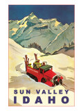 Sun Valley, Idaho, Vintage Truck with Skiers Giclee Print