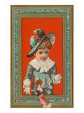 Victorian Boy in Frame with Doll Posters