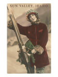 Sun Valley, Idaho, Lady Skier with Leopard Cuffs Posters