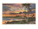 Coucher de soleil, Kalapana Black Sands, Hawaï Affiches