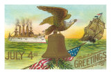 4th of July Greetings, Liberty Bell, Etc. Posters