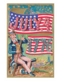 Uncle Sam with Banner and Flowers Posters